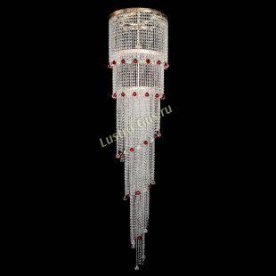 Каскадная люстра высотой от 2 м Люстра Милан каскад шар красный