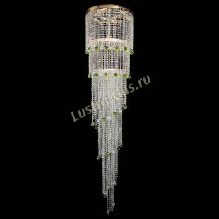 Каскадная люстра высотой от 2 м Люстра Милан каскад шар зеленый