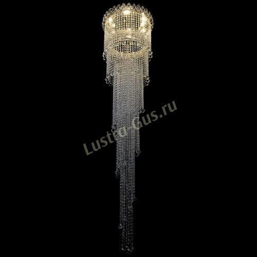Каскадная люстра Винтаж, диаметр - 450 мм, высота - 2000 мм, цвет - золото Гусь Хрустальный