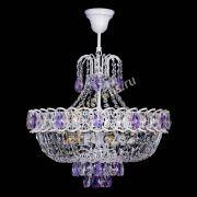 Люстра Астра Белая с подвесом фиолетовая