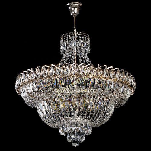 Люстра Хрустальный Каскад №1 с подвесом, диаметр - 600 мм, цвет - золото Гусь Хрустальный