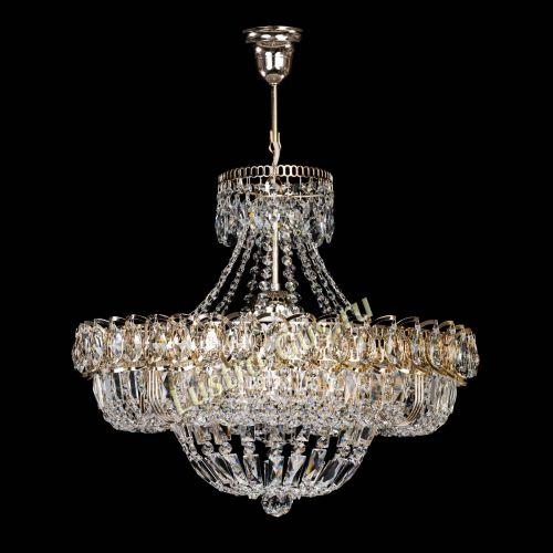 Люстра Кольцо Классика с подвесом, диаметр - 500 мм, цвет - золото, Люстры Гусь Хрустальный