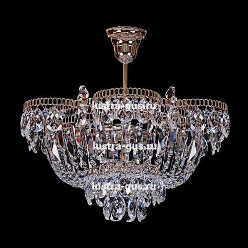 Люстра Ромашка с подвесом, диаметр 450 мм, золото Гусь Хрустальный