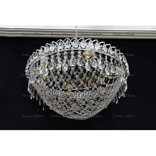 Люстра Водоворот Сетка, диаметр 500 мм, серебро Гусь Хрустальный