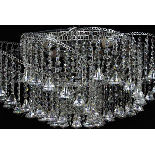 Люстра Космос конус, Диаметр 700 мм, 6 ламп, серебро Гусь Хрустальный