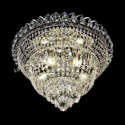 Люстра Хрустальный Каскад №1, диаметр - 450 мм, цвет - серебро Гусь Хрустальный