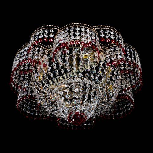 Люстра Камелия №1 красная, диаметр - 500 мм Гусь Хрустальный