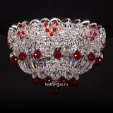 Люстра Катерина шар красная, диаметр 400 мм, цвет серебро, Люстры Гусь Хрустальный