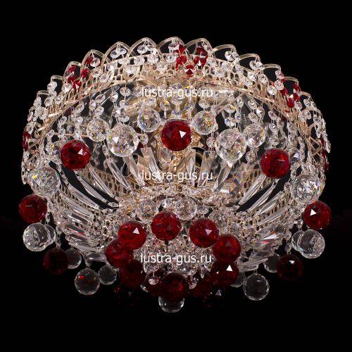 Люстра Катерина шар красная, диаметр 450 мм, цвет золото Гусь Хрустальный