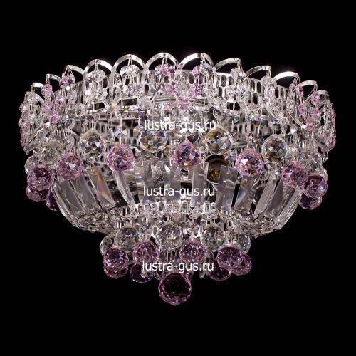 Люстра Катерина шар розовая, диаметр 400 мм, цвет серебро  Гусь Хрустальный