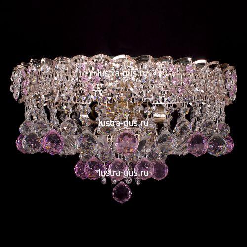 Люстра Катерина шар розовая, диаметр 450 мм, цвет золото Гусь Хрустальный