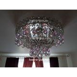 Люстра Катерина шар розовая, диаметр 450 мм, цвет серебро, Люстры Гусь Хрустальный