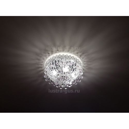 Люстра Катерина шар розовая, диаметр 450 мм, цвет серебро Гусь Хрустальный