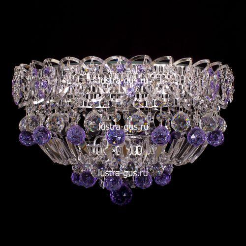 Люстра Катерина шар сиреневая, диаметр 400 мм, цвет серебро, Люстры Гусь Хрустальный