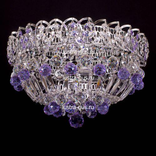 Люстра Катерина шар сиреневая, диаметр 400 мм, цвет серебро Гусь Хрустальный