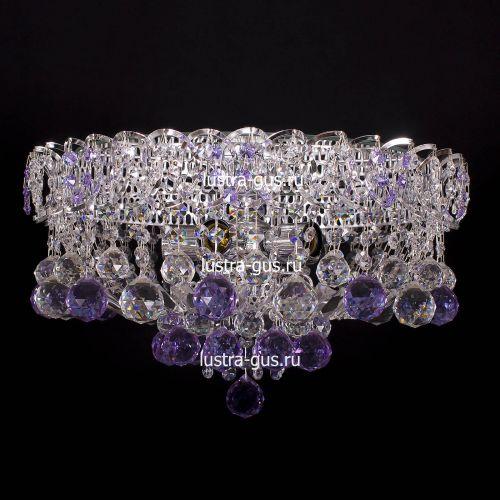 Люстра Катерина шар сиреневая, диаметр 450 мм, цвет серебро Гусь Хрустальный
