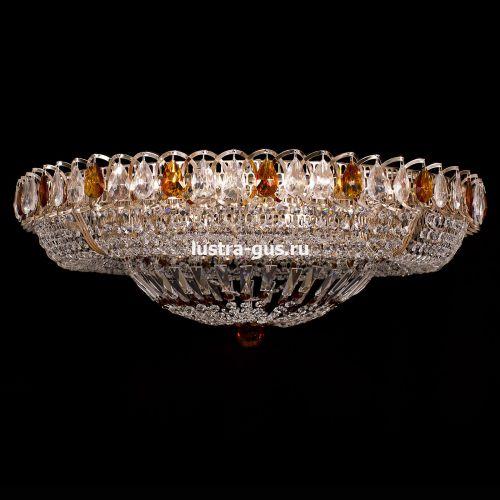 Люстра Классика цветная, диаметр 800 мм, цвет золото Гусь Хрустальный