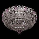 Люстра Кольцо Классика, диаметр 450 мм, подвески розового цвета, Люстры Гусь Хрустальный