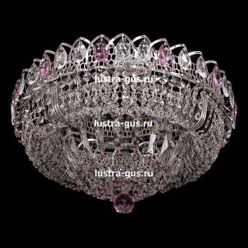 Люстра Кольцо Классика, диаметр 450 мм, подвески розового цвета Гусь Хрустальный
