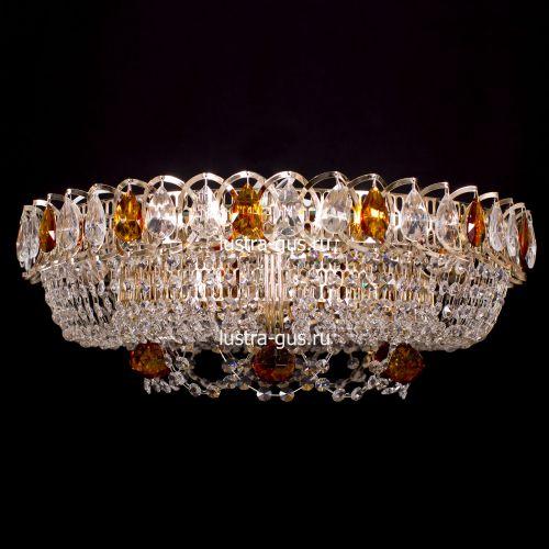 Люстра Кольцо Снежинка чайная, диаметр 500 мм, цвет золото Гусь Хрустальный