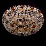 Люстра Кольцо Снежинка чайная, диаметр 500 мм, цвет золото, Люстры Гусь Хрустальный