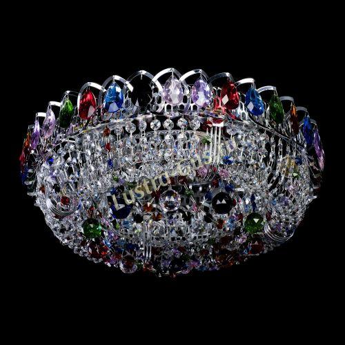 Кольцо Снежинка разноцветная, диаметр - 400, серебро, Люстры Гусь Хрустальный