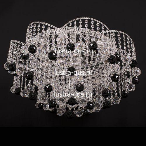 Люстра Космос шар 40 мм черная, диаметр 700 мм, цвет серебро Гусь Хрустальный