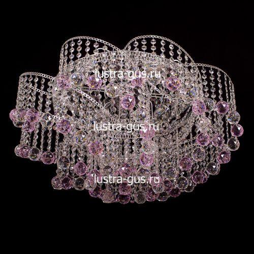 Люстра Космос шар 40 розовая, диаметр 700 мм, цвет золото Гусь Хрустальный