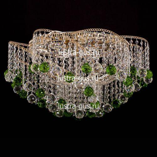 Люстра Космос шар 40 мм зеленая, диаметр 700 мм, цвет золото, Люстры Гусь Хрустальный