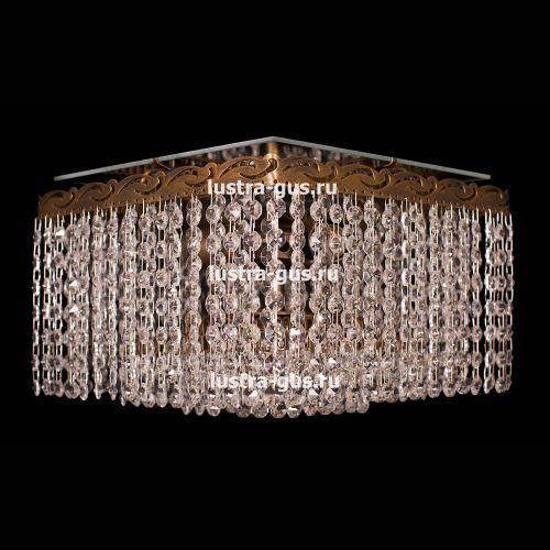 Люстра Квадрат Оптикон, диаметр - 300 мм, цвет - золото Гусь Хрустальный