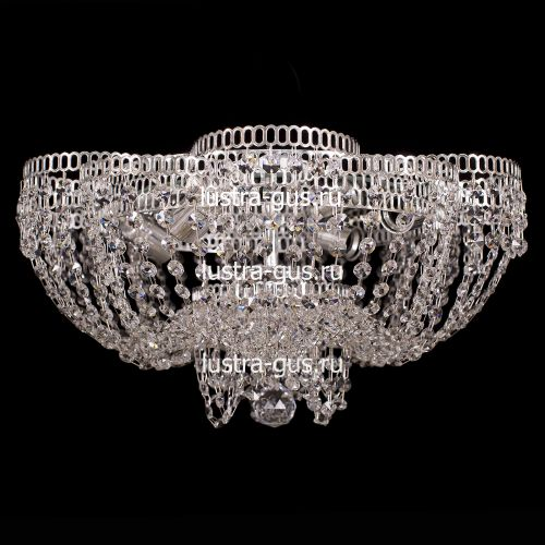 Люстра Лотос Пион, диаметр 500 мм, цвет серебро Гусь Хрустальный
