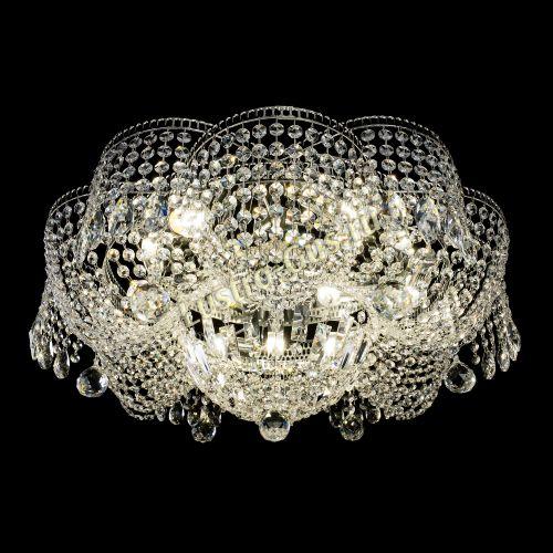 Люстра Лотос Журавлик, диаметр - 700 мм, цвет - серебро Гусь Хрустальный
