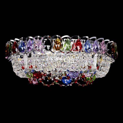 Люстра Снежинка разноцветная, диаметр - 400, серебро, Люстры Гусь Хрустальный