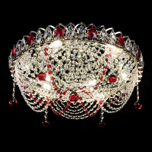 Люстра Жасмин №1 красная, диаметр - 500 мм Гусь Хрустальный