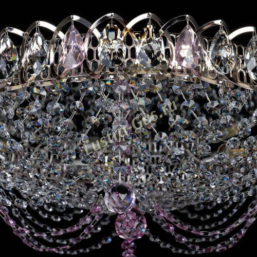 Люстра Жасмин №1 розовая, диаметр - 500 мм Гусь Хрустальный