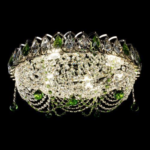 Люстра Жасмин №1 зеленая, диаметр - 500 мм Гусь Хрустальный